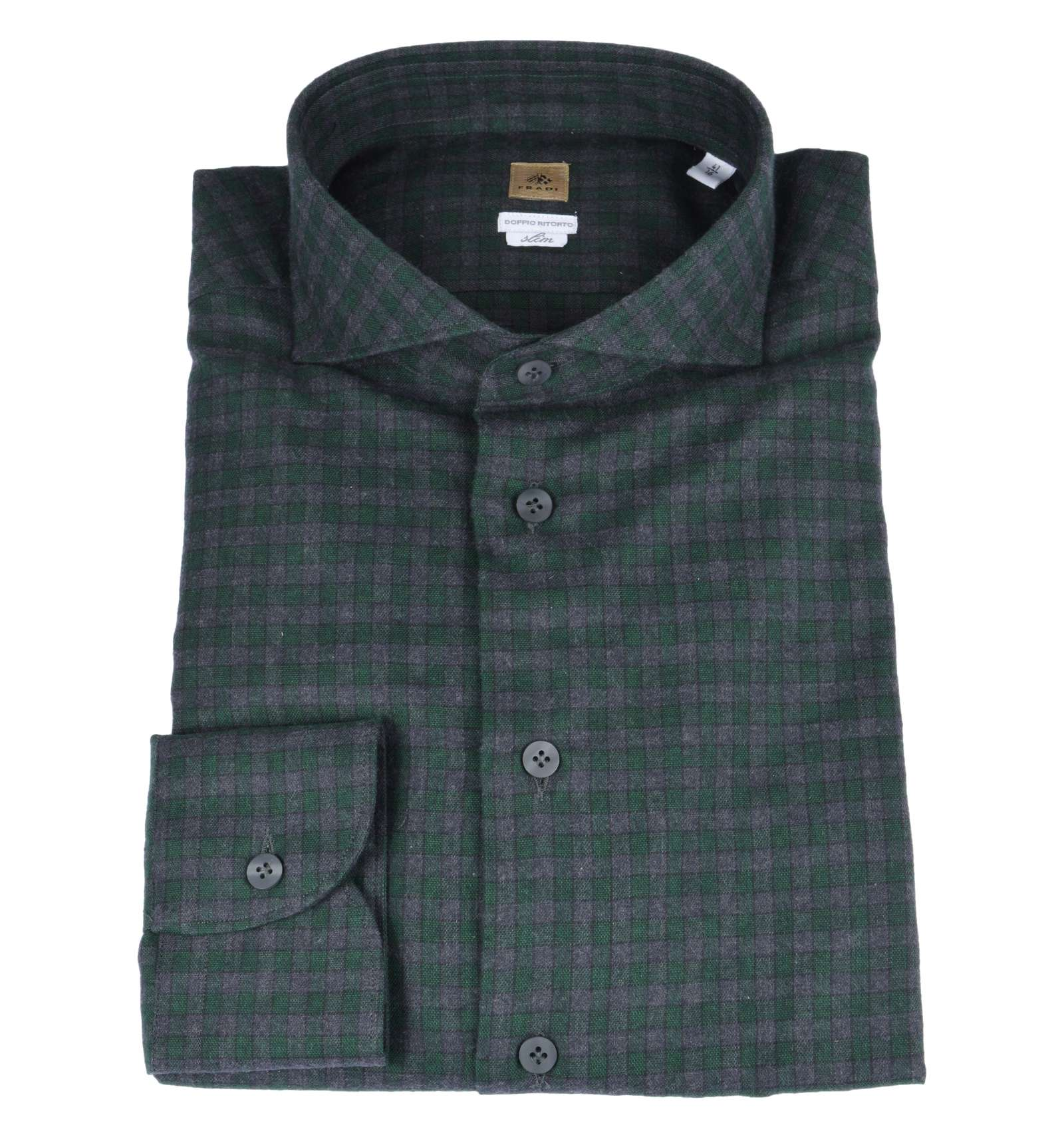 huge discount a5c10 62a3a FRADI uomo camicia quadri verde grigio flanella slim CN6333 0553