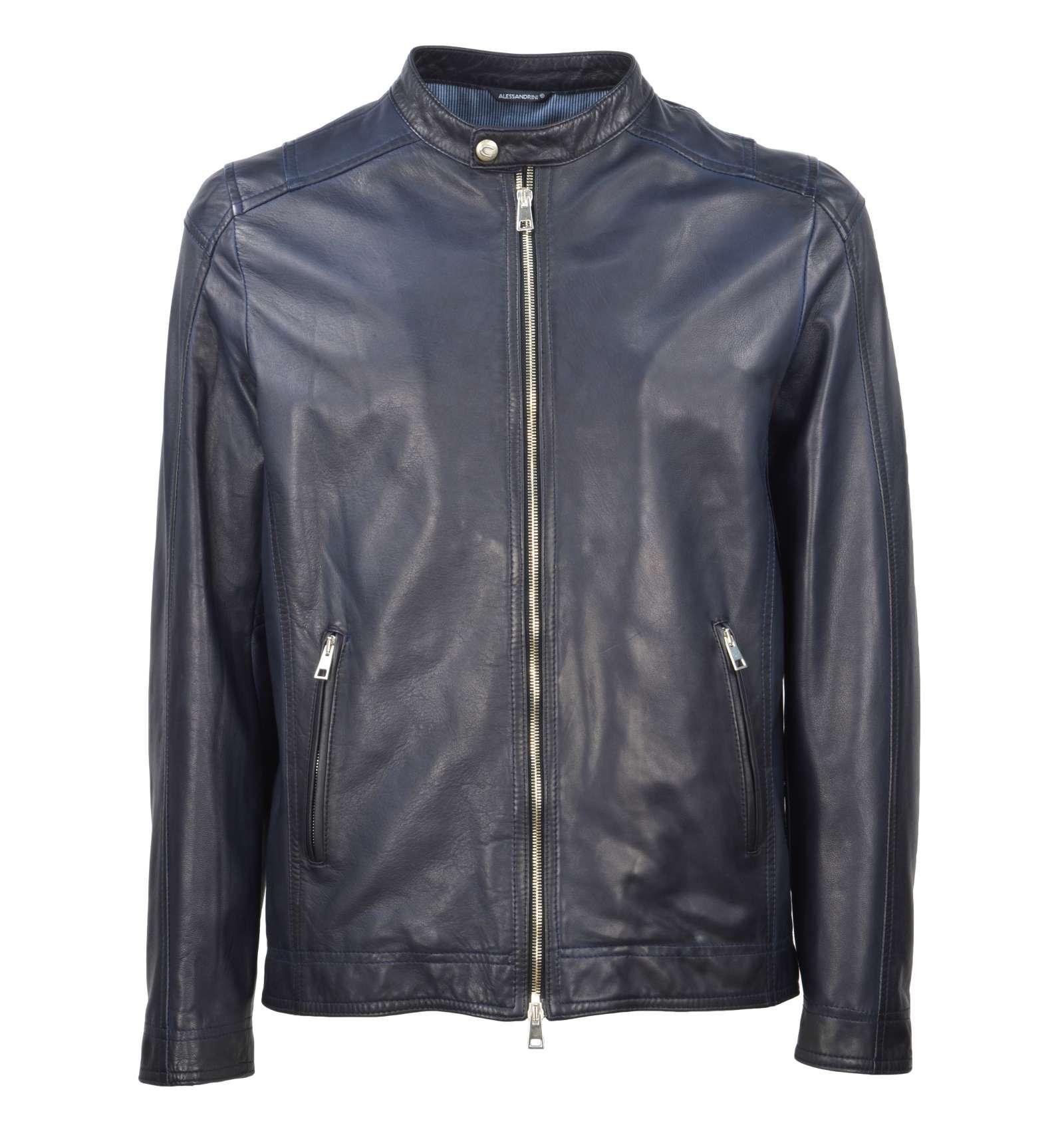 pretty nice 55385 cc1a1 DANIELE ALESSANDRINI GREY uomo giacca pelle blu I1290KD083800 23