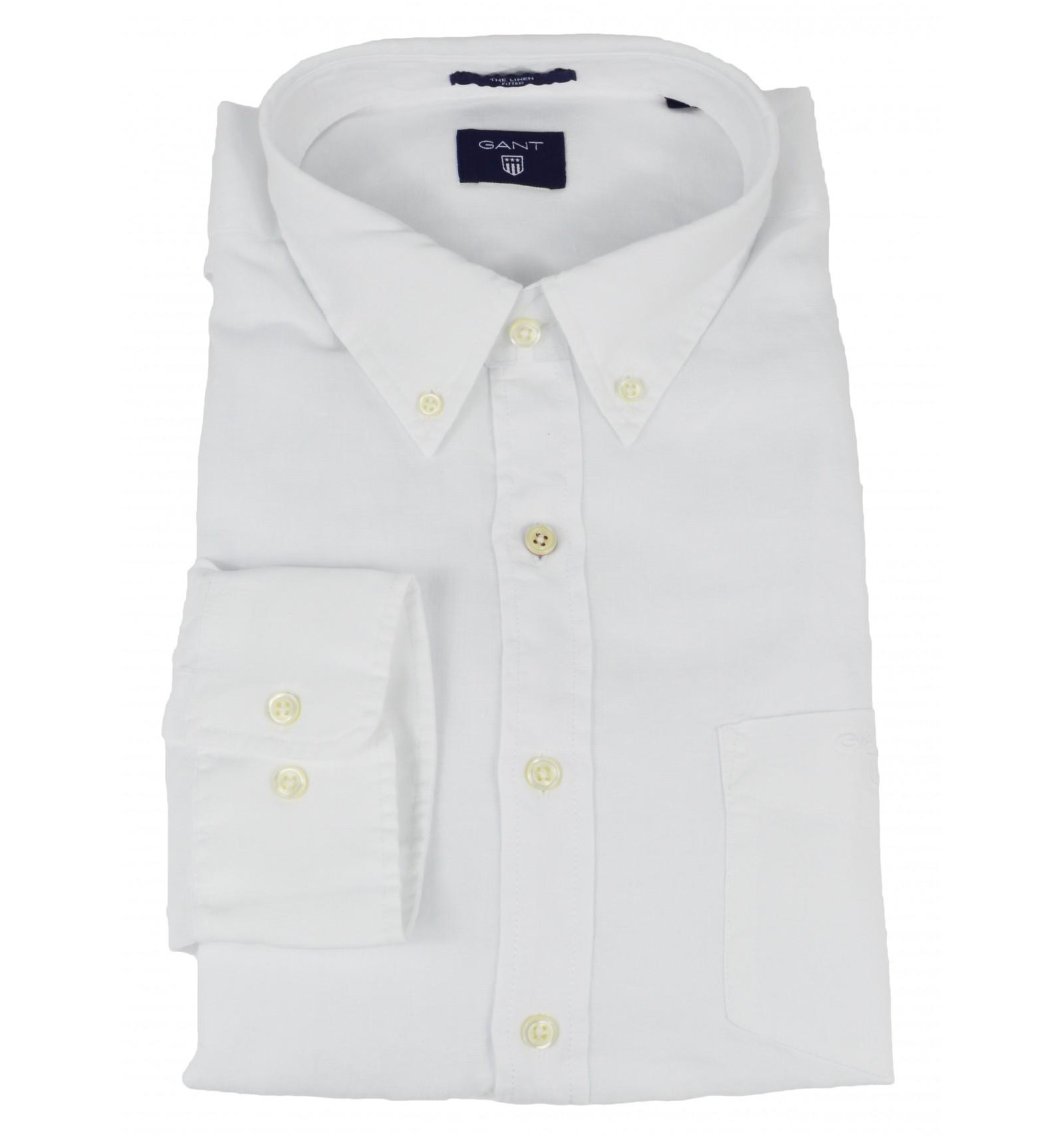 on sale 5e490 0ab70 GANT uomo camicia button down bianco taschino 100% lino